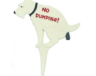 painted dog no dumping  sign, cast iron garden decor,unique decor, french country cottage.farm house
