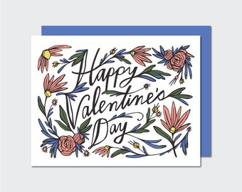Floral Valentine Card | Illustrated Greeting Card | Garden Notecard | Love | Friendship | Paper Jane | A2