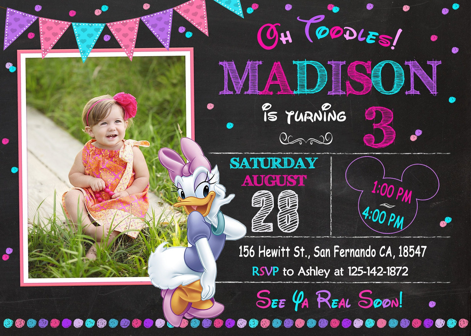 Daisy Invitation Printable Daisy Birthday Party Daisy Duck