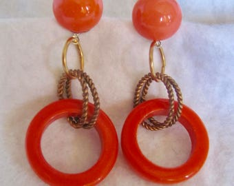 """LC Upcycled I Love Lucite Coral Orange Circle Hoop Rings Pierced  Earrings 2 1/2""""  Huge Scale"""