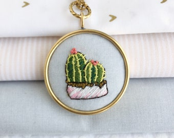 Golden Barrel Cactus, potted plant, simple necklace, colorful pendant, hand embroidered necklace, wearable art, teacher gift, plant lover