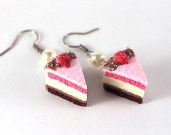 Cake earrings chocolate vanilla and Strawberry (Neapolitan cake)