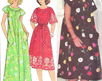 1970s Dress Pattern Muu Muu Yoked Pullover Vintage McCall's Sewing Women's Misses Small 10 - 12 Bust 32.5 - 34 Inches