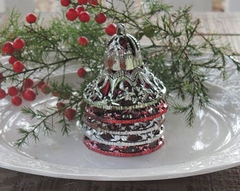 Vintage Bells Set of 5 Filigree Plastic Bells Christmas Tree Bell Holiday Decor Collectible Tree Decorations