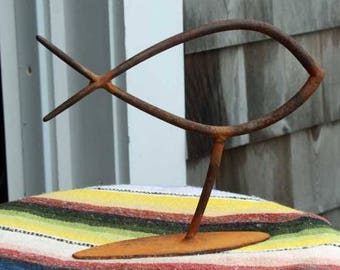 Fish sculpture from found objects primitive folk art metal HOME decor FREE SHIPPING