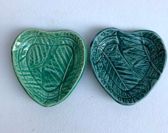 Set of 2 Heart Shaped Dipping dishes, small dishes, sauce dishes, stamped dish, Heart dishes