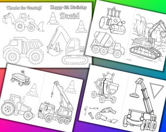 Construction Birthday Party coloring book, Construction activity book, PDF file