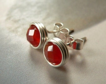 Red agate earstuds, silver post earrings, handmade natural jewelry, red post earrings, affordable gift, small gifts, graduation, for her