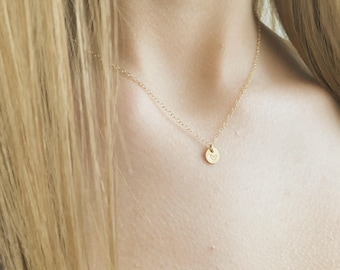 Custom Initial Necklace, Tiny 14k Gold Filled Initial Necklace, Tiny Initial Necklace, Any Time Necklace, Personalized Gift, Best Friends