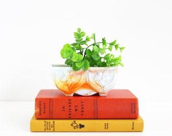 Vintage 1940s Akro Agate Planter / Akro Agate Daffodil Planter / Orange White Slag Glass Planter / Vintage Agate Marble Planter