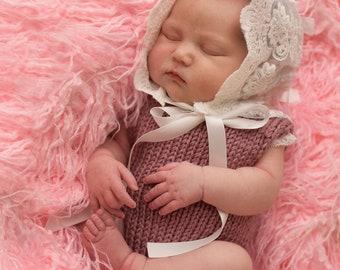 white lace newborn bonnet, baby bonnet, Newborn photo prop, newborn bonnet,newborn baby bonnet, baby bonnet, baby blessing bonnet
