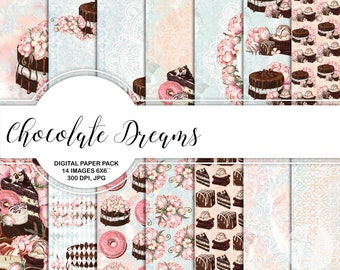 """Chocolate and Peony Digital Paper Pack  Instant Download Printable Blush Blue Chocolate Brown Peony Cake Donut Confectioner's Sweet 6x6"""""""