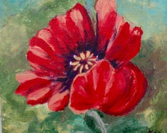 Red Poppy - Original Painting on Canvas- Kate Ladd
