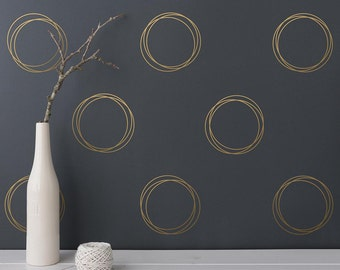 Geometric Wall Decals - Circle Wall Decals, Ring Decals, Gold Decal, Unique Modern Wall Decals