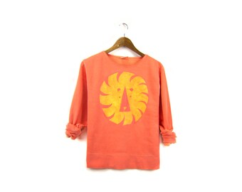 Geo Lion Sweatshirt - Crew Neck Boyfriend Boxy Fit Fleece Sweatshirt in Poppy Orange and Gold - Women's Size S-2XL