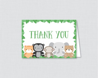 Printable Jungle Theme Thank You Card - Printable Instant Download - Green Jungle Themed Baby Shower Thank You Card, 0042-G