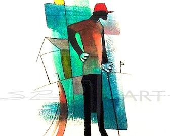 Par Watercolor Painting, Contemporary Art, Golf Wall Art, Black Golf, Golf Decor, Gift for Him, Home Decor Art, African American Art