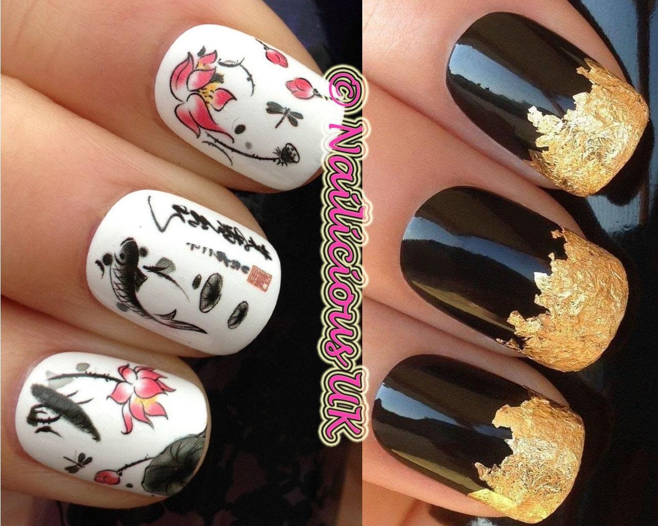 nail art set 118. koi carp fish lilly japanese water