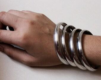 Set of 2 Pcs Sillver Tone Pure Brass Bangles / Stacking Bangle Bracelets /Designer Handmade Brass Jewelry /Bohemian Bangles /Fashion Jewelry