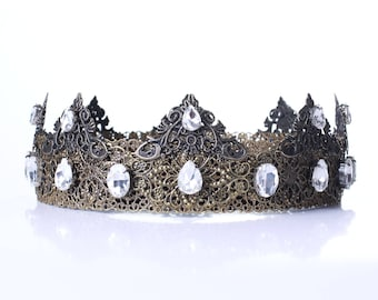 White Bronze Male Crown, Mens Medieval Crown, Clear Rhinestones Crown, King Rotal Crown, Dolce Mens Crown, Baroque Male crown, Tudor man