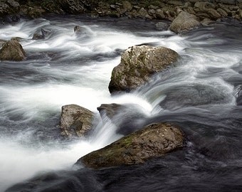 Flowing Water over Rocks in a Mountain Stream within the Great Smoky Mountain National Park in Tennessee No.12F River Landscape Photograph