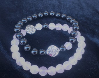 Onyx and Rose Quartz Bracelet Duo