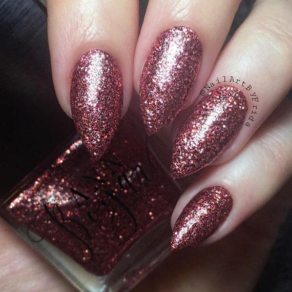 RED COPPER Burgundy Glitter Nail Polish Maroon Nail Polish
