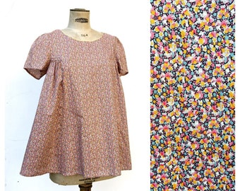 PEPPER Liberty of London Smock Blouse Orange and Pink French Vintage