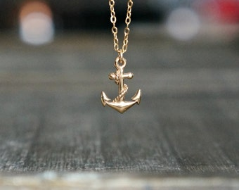 Anchor Necklace / Tiny (half inch tall) Italian Bronze Anchor Pendant on a 14k Gold Filled Chain ... detailed realistic nautical necklace