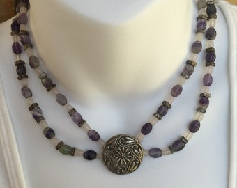 Silver medallion necklace and earring set