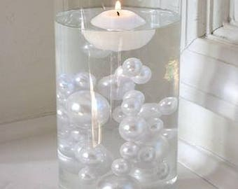 All White Pearls - Jumbo/Assorted Sizes Vase Fillers for Centerpieces