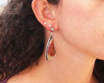 "RED SONORA SUNRISE Earrings Sterling Silver 2.25"" NewWorldGems"