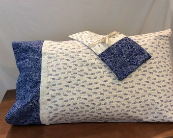 Pair of Handmade Quality cotton Pillowcases -  Blue and White Seahorses