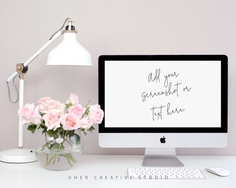 Styled Stock Photography | Desktop Mockup| Pink Roses with White Desk Lamp | Styled Photography | Digital Image