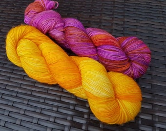 Shawl Pair: Fuego; 2 x 100g complementary yarn skeins, hand dyed sock weight merino/nylon yarn