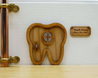 Tooth Fairy Wooden 3D Fairy Door Kit with 'Tooth Fairy Please Stop Here!' Sign