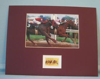 1978 Triple Crown - Affirmed vs. Alydar head to head at the Preakness & the stamp issued to honor the 100th Kentucky Derby