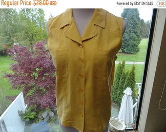 SALE Silk Yellow Blouse - Button down tank top - Vintage shirt - Size S small