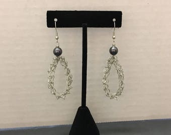 Wire Crochet Earrings with Hematite Accent Bead