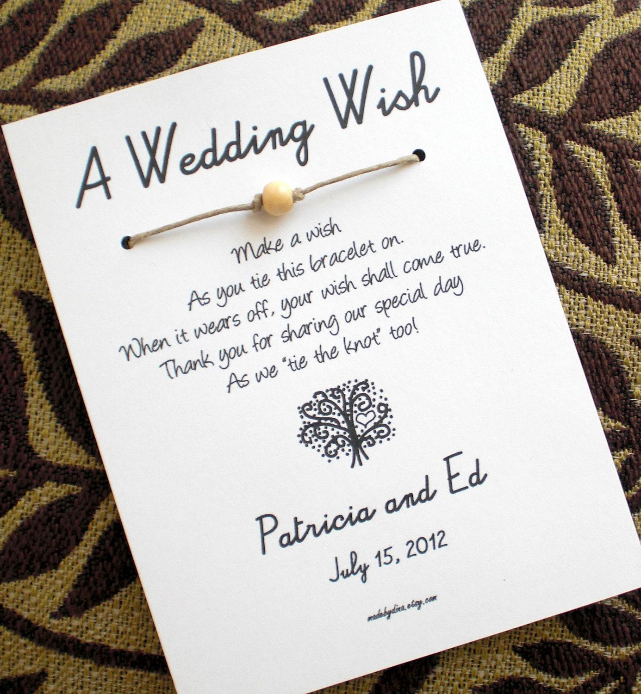 The Love Tree A Wedding Wish Wish Bracelet Wedding Favor