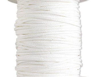 Faux Suede Leather Cord Lace White Soft Cotton 3mm wide for necklaces and bracelets, 10 or 25 ft.