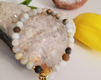 Glass bead moon bracelet