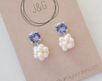 Lavender crystal dangle earrings with freshwater pearls