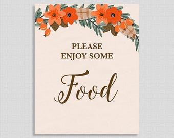 Please Enjoy Some Food Shower Table Sign, Fall Wreath Shower Sign, Favor Sign, Autumn, Boho,  INSTANT PRINTABLE