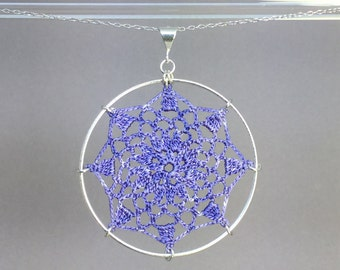 Mandala doily necklace, lilac hand-dyed silk thread, sterling silver