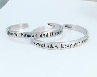 Mothers Day from Daughter - Mother Daughter Bracelets - Cuff Bracelets - Hand Stamped - I Love You Through and Through, Yesterday, Today