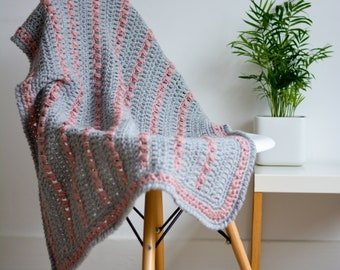 Sparkle Pink and Grey Crochet Lap Blanket