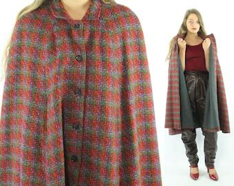70s Long Tweed Cape Wool Cloak Winter Coat Red Purple Green Plaid Vintage 1970s Medium M Large L Preppy Poncho