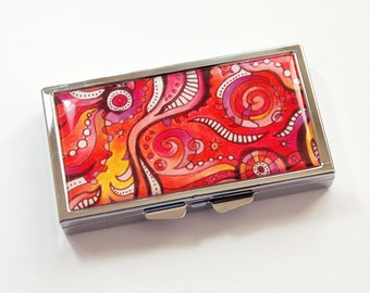 Pill case, 7 sections, 7 day,  Pill Box, Abstract Design, Pink, Bright colors, pink case, Kellys Magnets (3833)