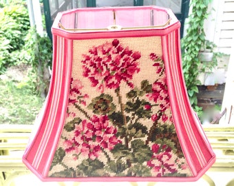 Lampshadeladys handmade lampshades by lampshadelady on etsy needlepoint hydrangea lamp shade rectangle bell lampshade with vintage french pink and red ticking fabric one of a kind and ready to ship aloadofball